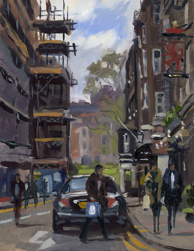 Jermyn St, Mayfair, London, Brass Monkeys, oil painting