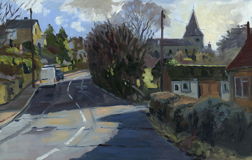 East Farleigh, Kent, oil painting