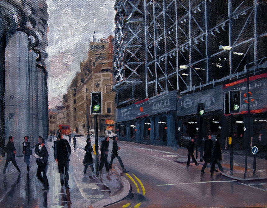 Cannon St, London, Oil, plein air, painting, street, pedestrians