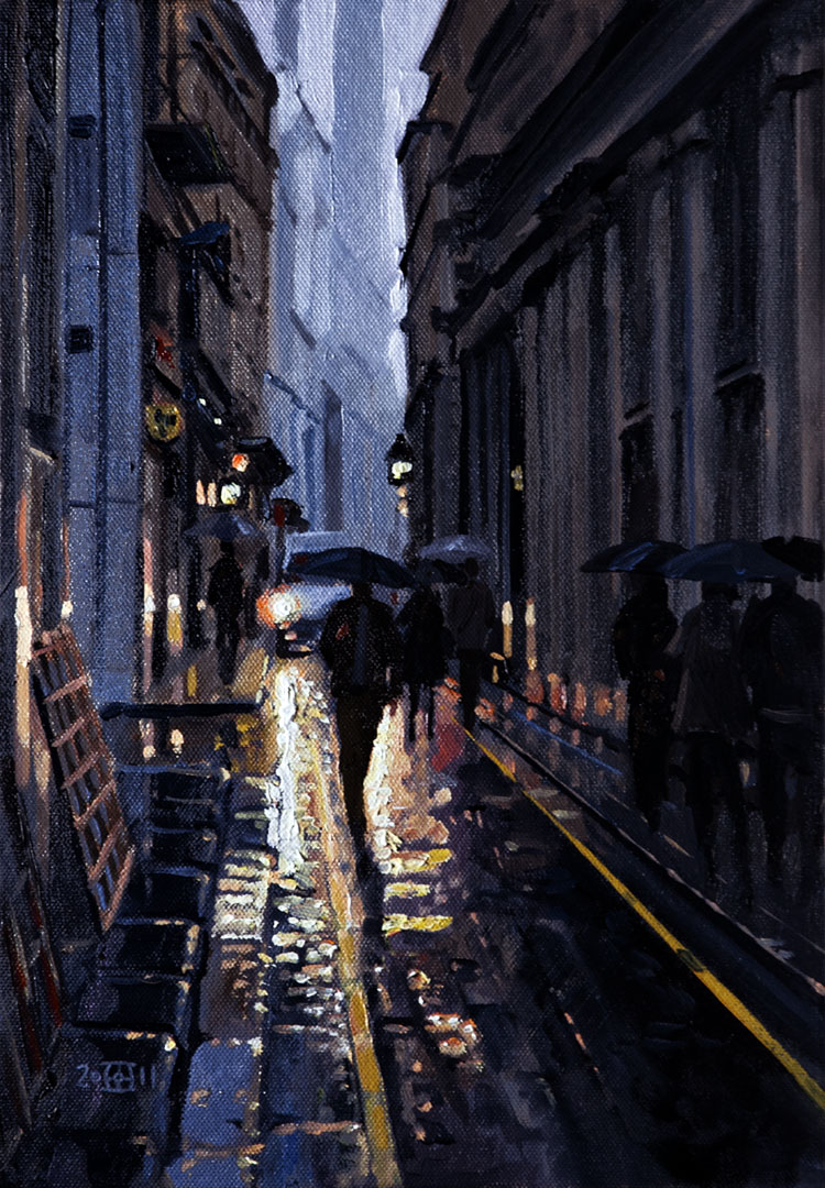 London, City, oil, lights, rain, commuters