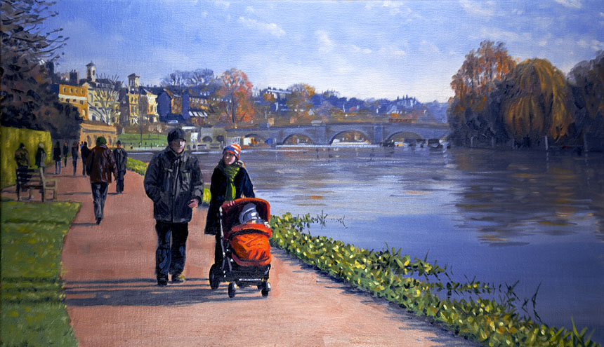 Richmond, thames, london, river, oil, plein air, buggy, baby, walk
