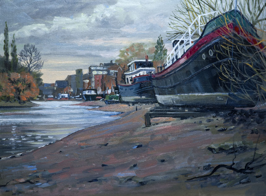 Thames, Kew, London, Barges