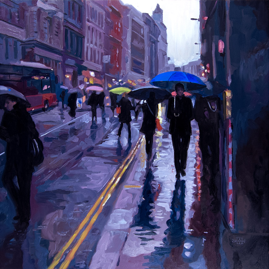 London, City, commuters, umbrella, rain, painting, oil