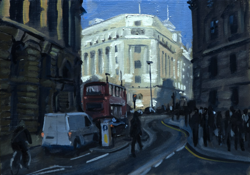 London, City, morning, plein air, painting, oil