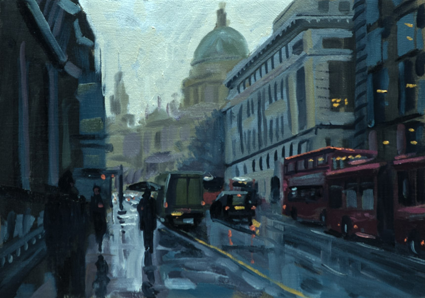 St Pauls, London, oil, plein air, city, painting