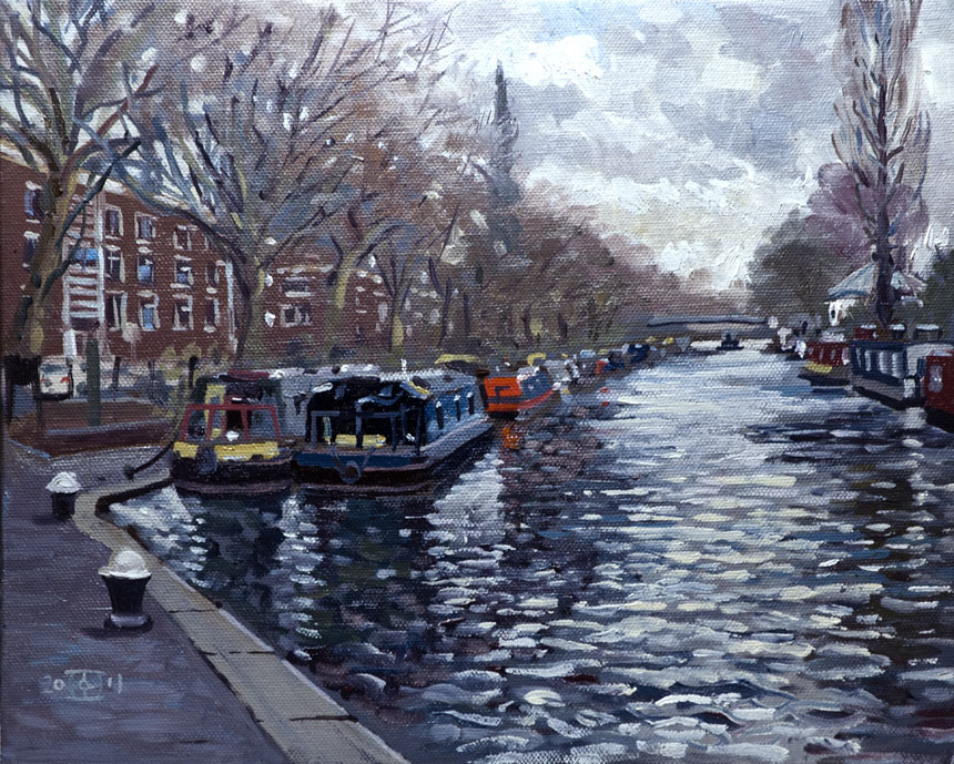 Little Venice, London, Canal, Barge, water, Oil painting, plein air