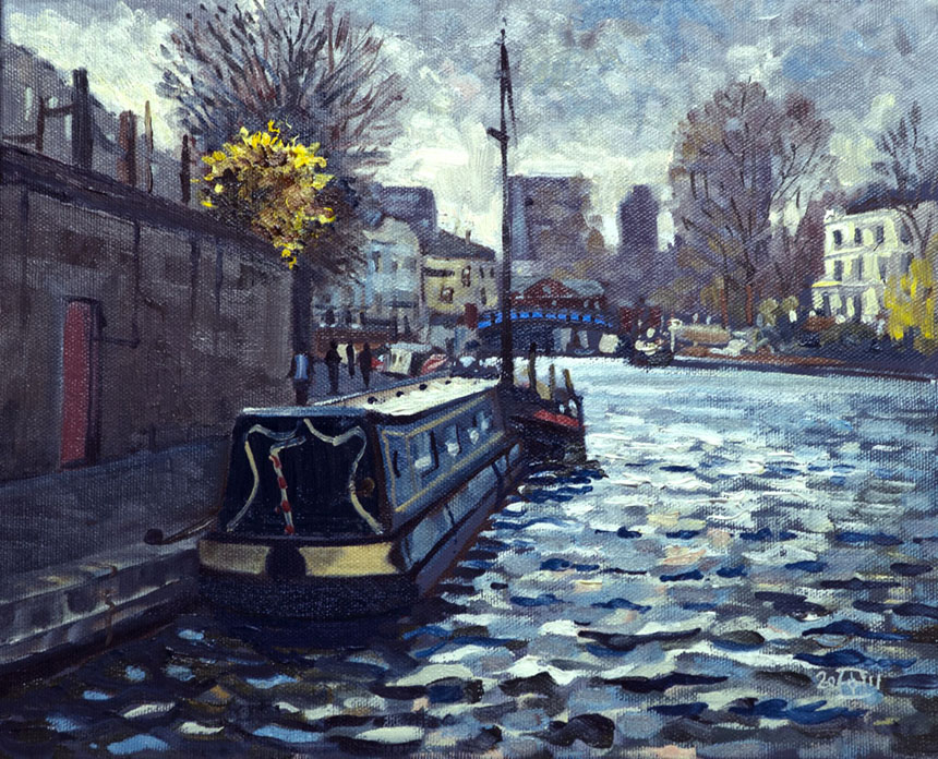 Little Venice, London, canal, barges, lock, water, oil, painting, plein air