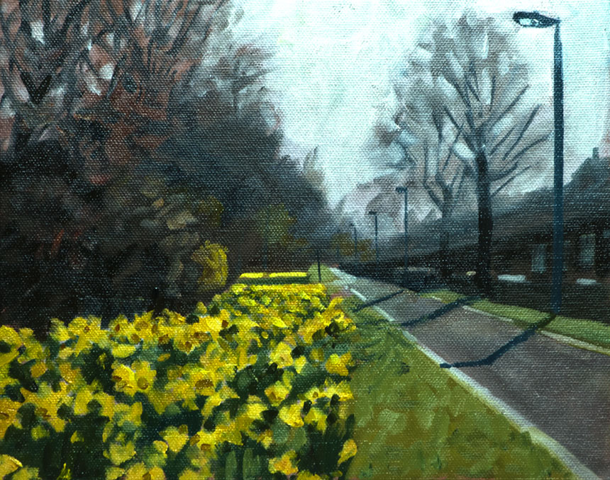 Daffodils, Deptford, London, Spring, Plein air, oil painting