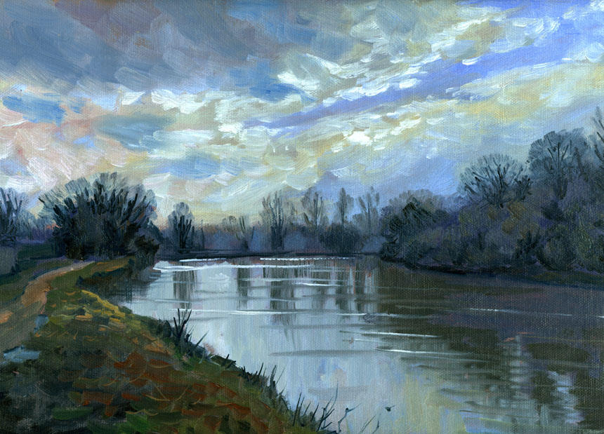 Aylesford, Kent, river, Medway, plein air, oil painting