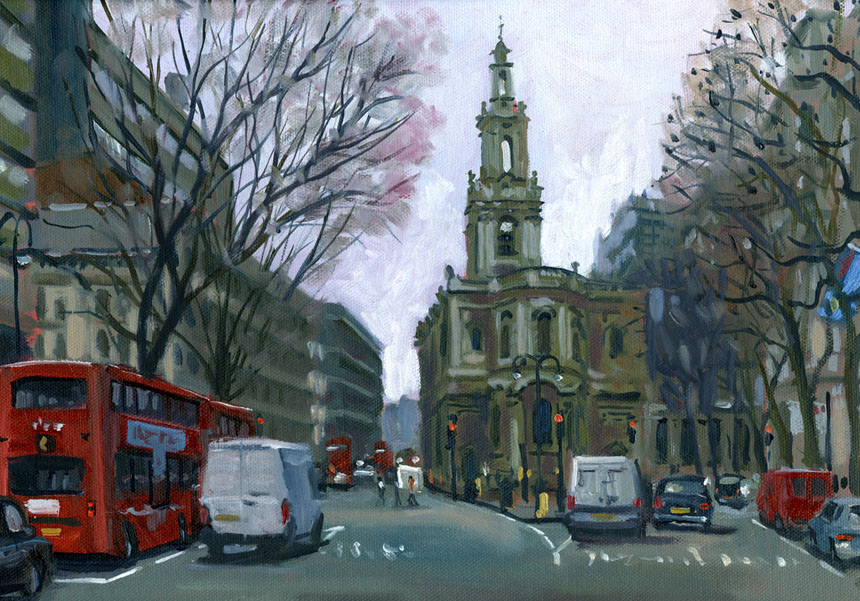 St Mary le Strand, London, The strand, church, painting, plein air.