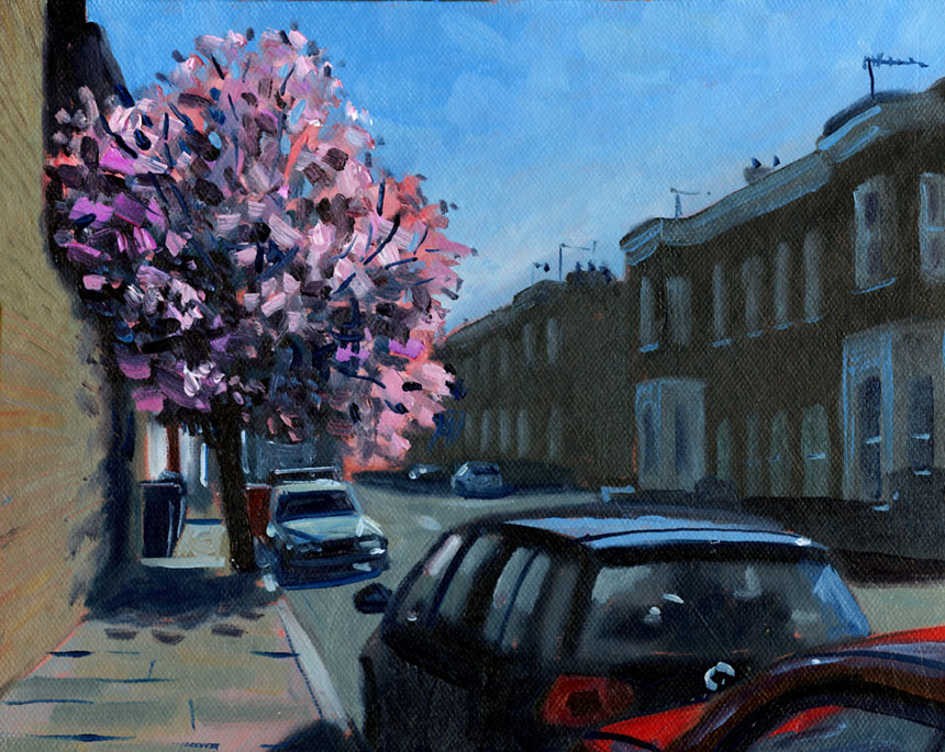 London, Deptford, spring, blossom, oil painting, plein air