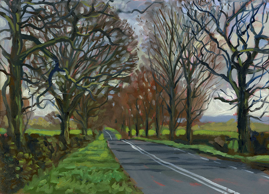 Alcester, Droitwich, salt, roman road, oil painting, plein air, road