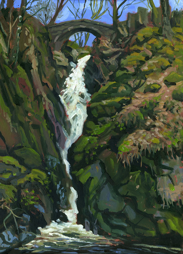 Aira Force, waterfall, cumbria, lake district, oil painting, plein air