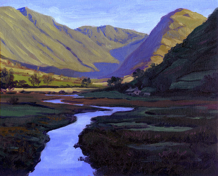 Martindale, Ullswater, Cumberland, lake district, plein air, watercolour