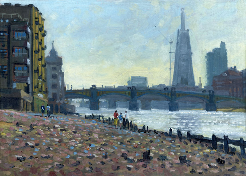 The Shard, London, thames, oils, plein air, river, bridge