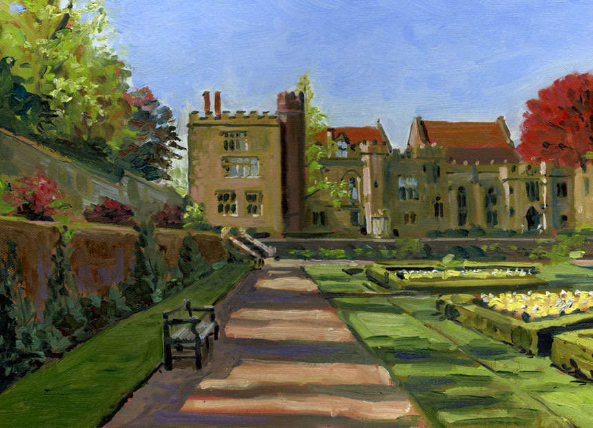 penshurst, place, kent, oil painting, plein air, garden
