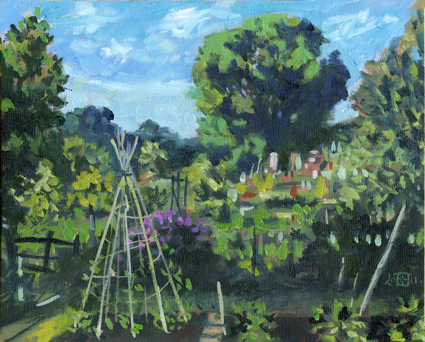 Deptford, allotment, oil, painting, plein air