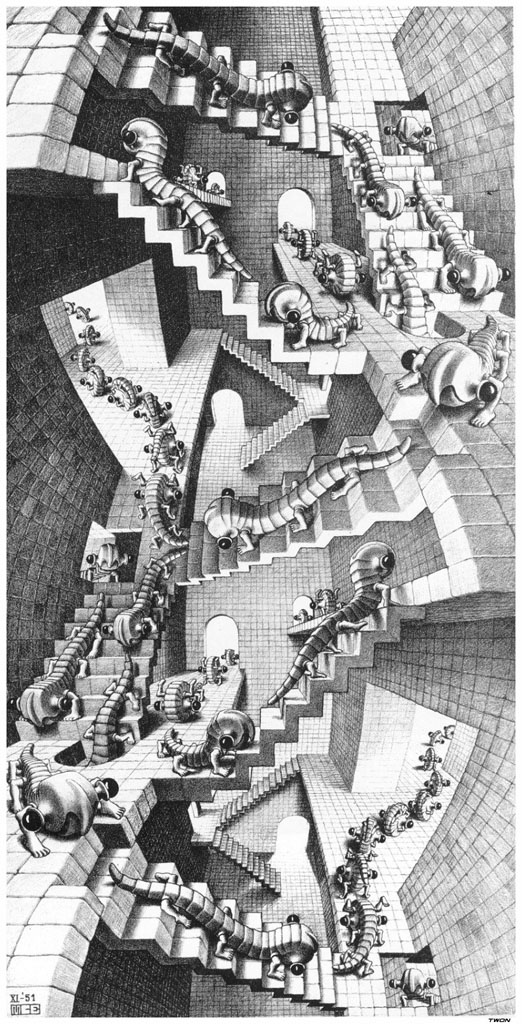 Escher, perspective, cylindrical