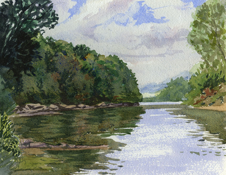 Wye valley, River, Herefordshire, watercolor, Rob Adams