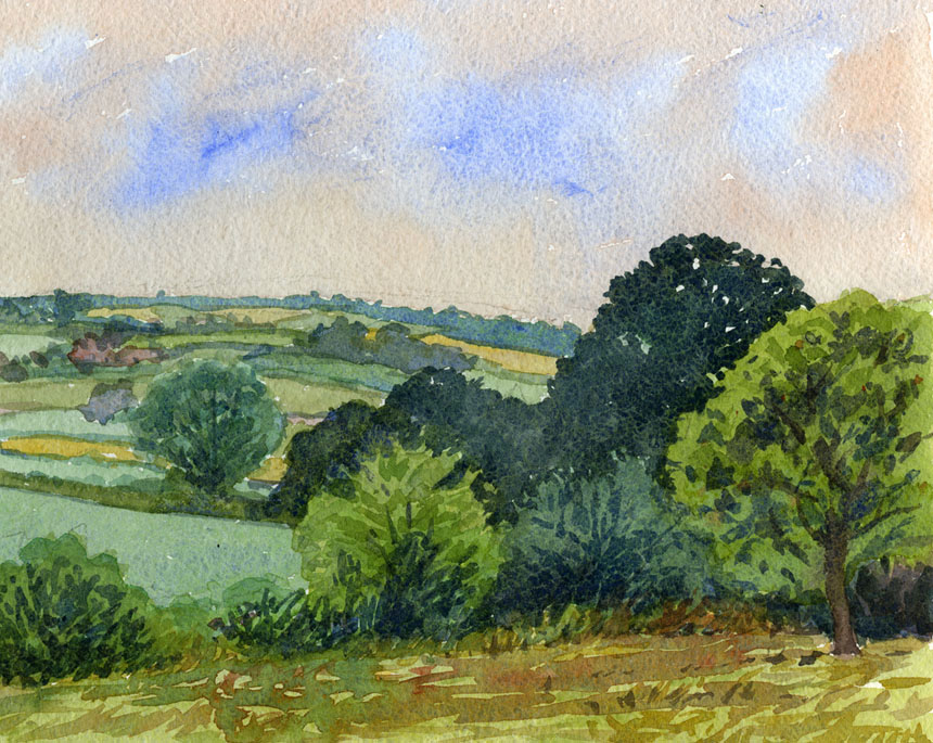 Herefordshire, orchard, watercolour, painting, Rob Adams