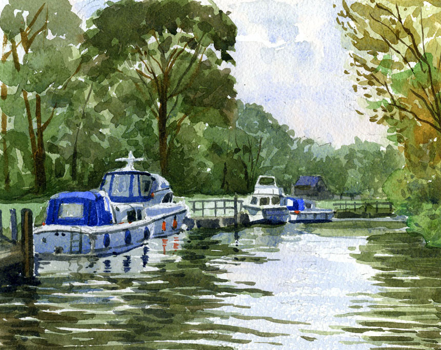 thames, boats, hurley, river, watercolour, plein air, Rob Adams