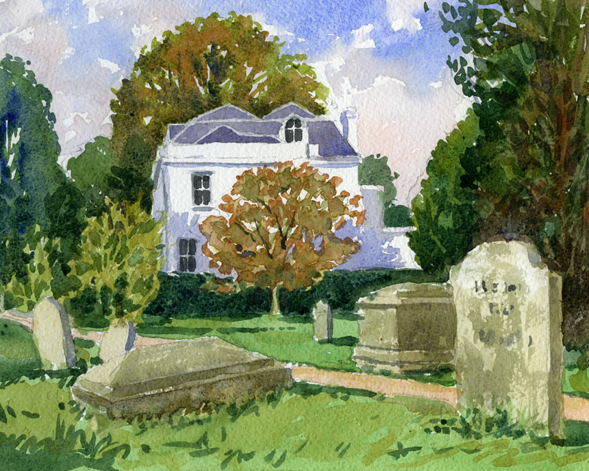 Cookham, churchyard, grave, watercolour, painting, Rob Adams