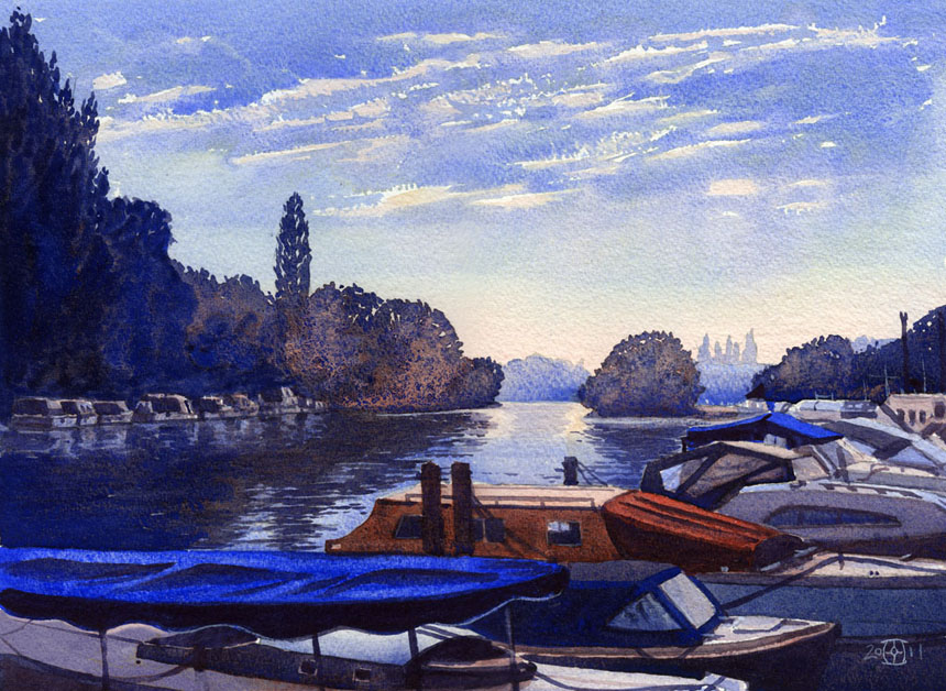 Henley, boats, dawn, Thames, river, watercolour, painting, Rob adams