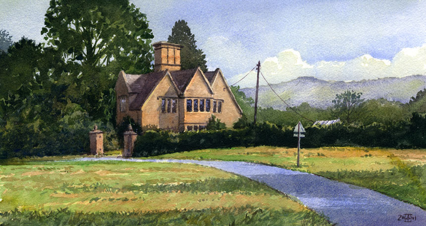 Dumbleton, Cotswolds, trees, watercolour, painting, rob adams