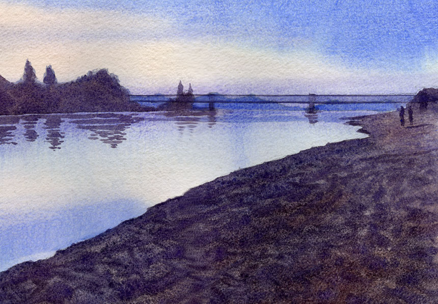 Saumur, bridge, france, loire, river, watercolour, dawn, painting, rob adams
