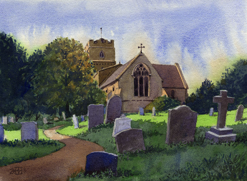 Dumbleton church, cotswolds, watercolour, painting, rob adams