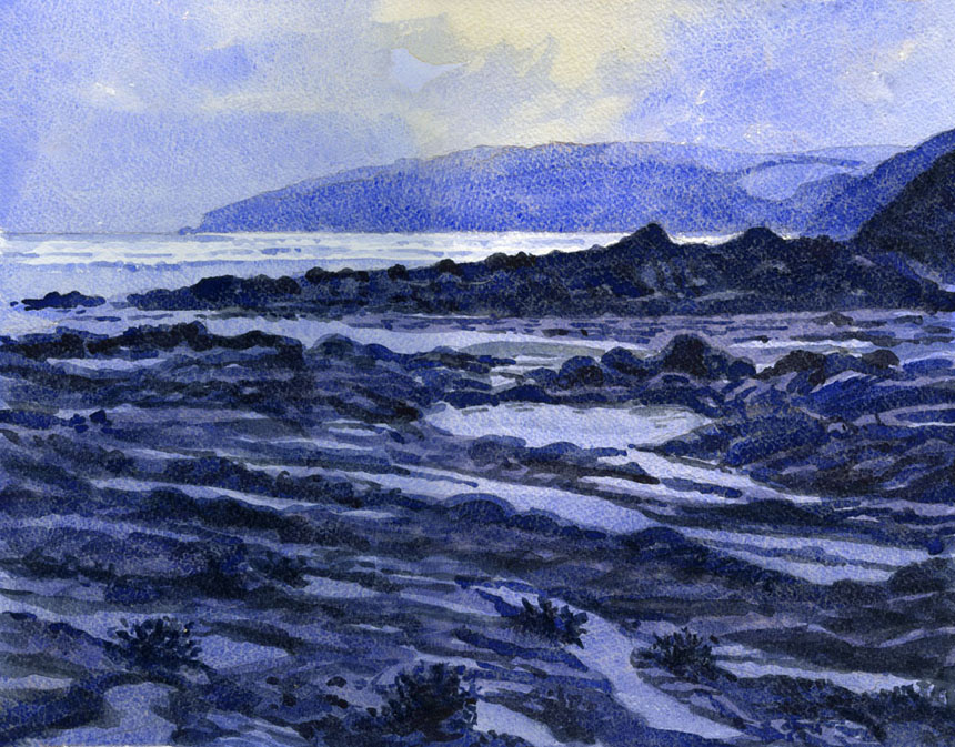 Watercolour, Wales, Newport, sea, painting, Rob Adams