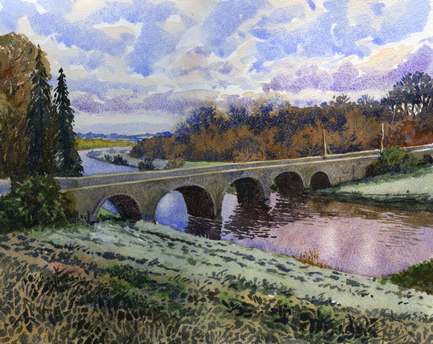 Nore, Inistioge, Kilkenny, Ireland, Watercolour, Painting, Rob Adams