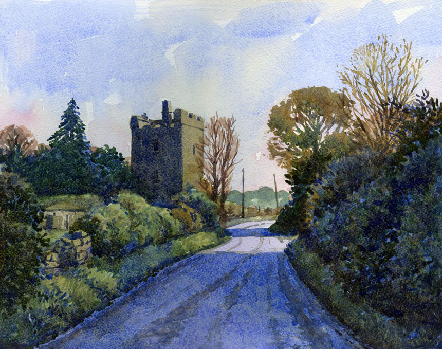 Clara Castle, Kilkenny, watercolour, painting, Rob Adams, Ireland