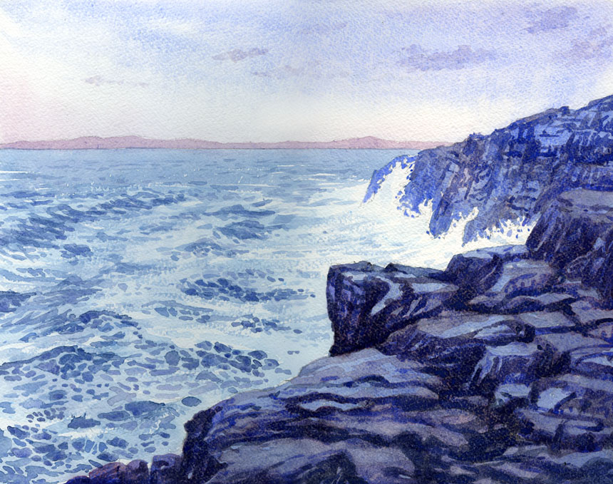 Sea storm, Black head, clare, watercolour, Rob Adams