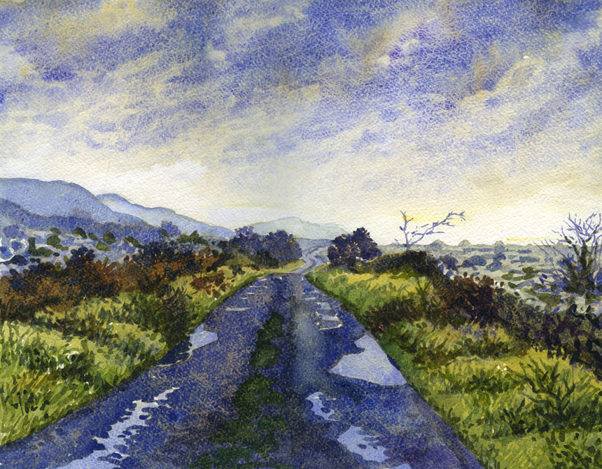 Clare, Burren, watercolour, painting, Rob Adams