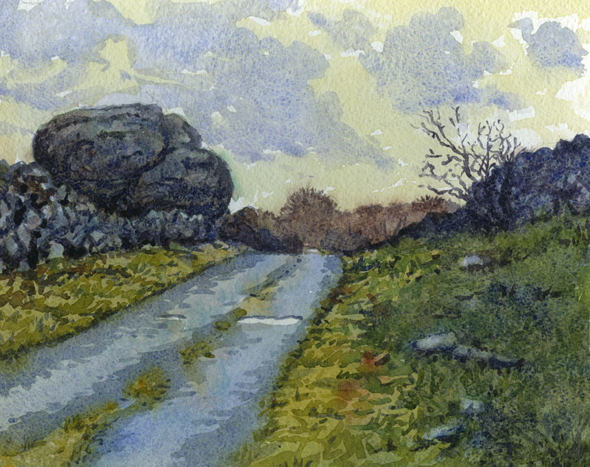 Burren, County Clare, Ireland, watercolour, plein air, Rob Adams
