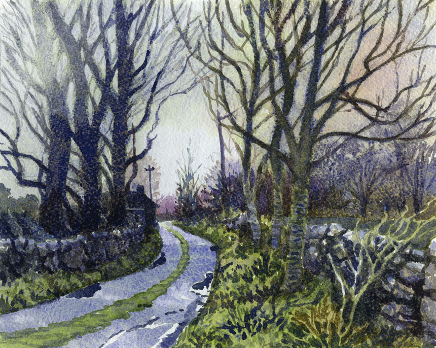 Burren, Clare, Ireland, watercolour, Rob Adams