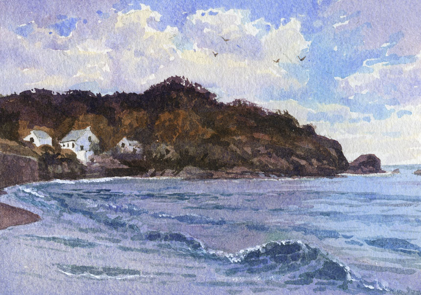 Pembrokeshire, wales, watercolour, painting, Plein air, Rob Adams
