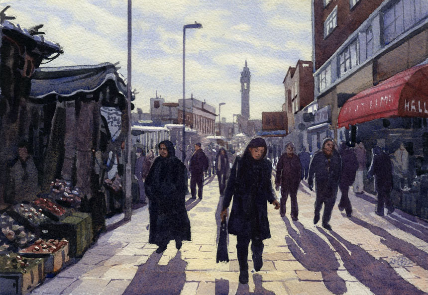 lewisham, market, london, watercolour, painting, Rob Adams
