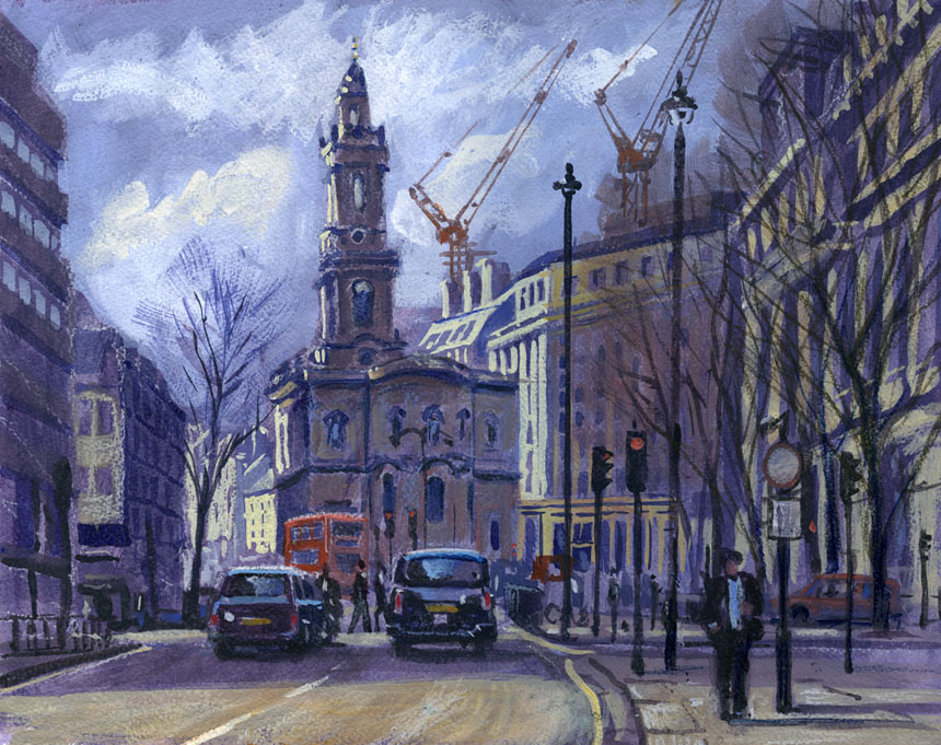 Mary Le Strand, London, fleet st, watercolour, Rob adams, painting