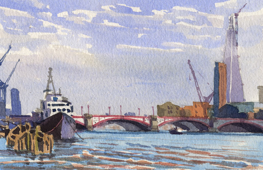 Thames, London, Southwark, shard, watercolour, plein air, Rob Adams