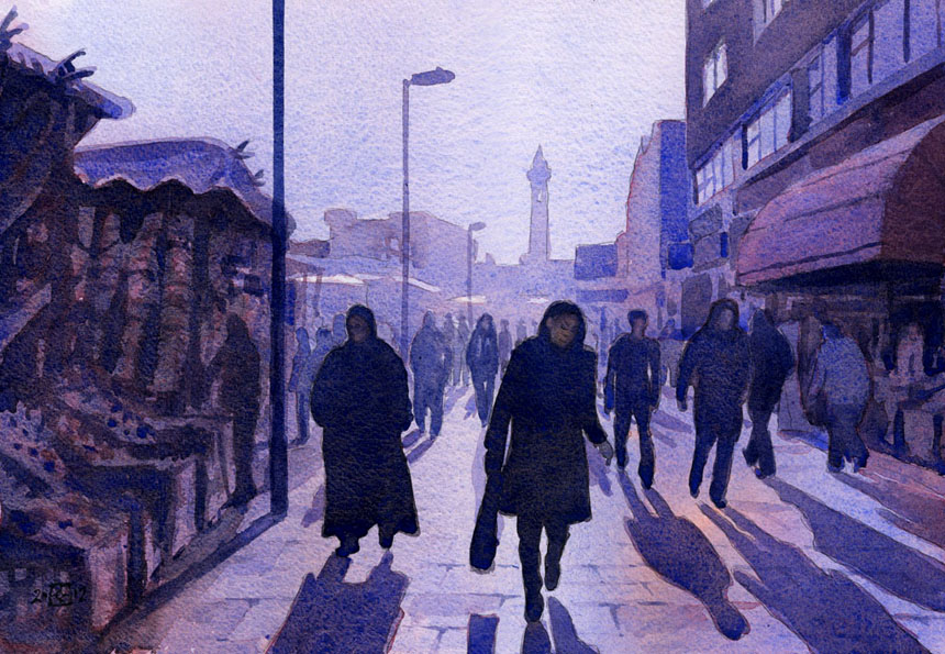 Lewisham, market, watercolour, painting, Rob Adams