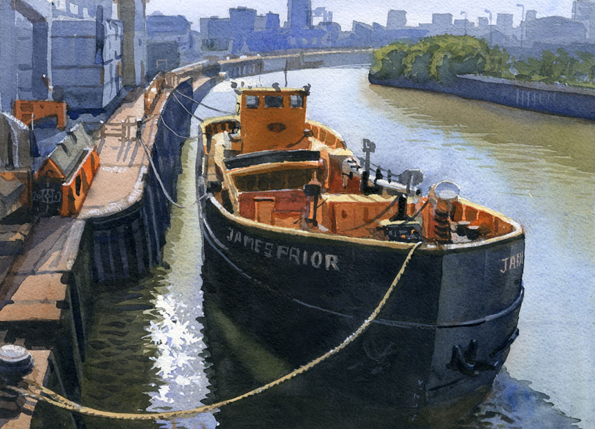 ship, london, deptford, creek, watercolour, Rob adams