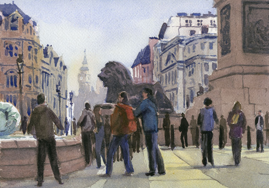 London, Nelson, Trafalgar, watercolour, plein air, Rob Adams
