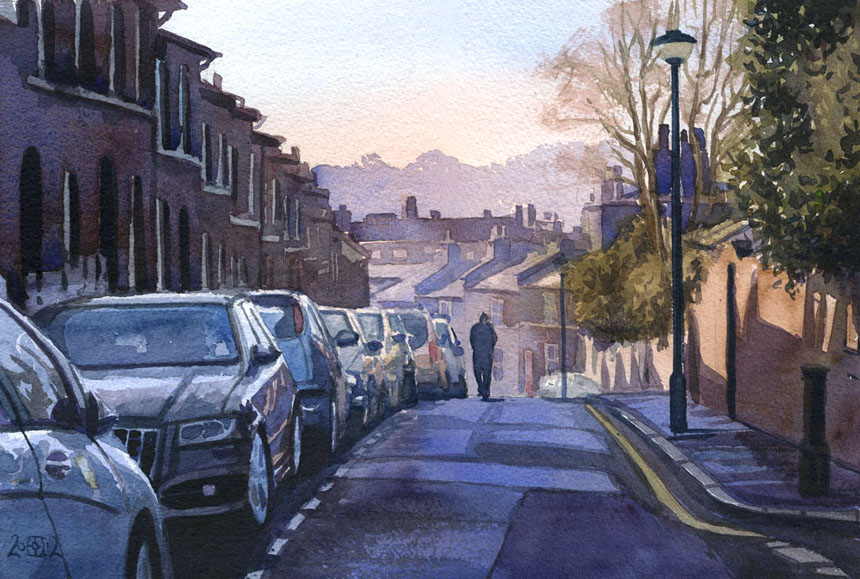 London, street, cars, Brockley, watercolour, Rob Adams