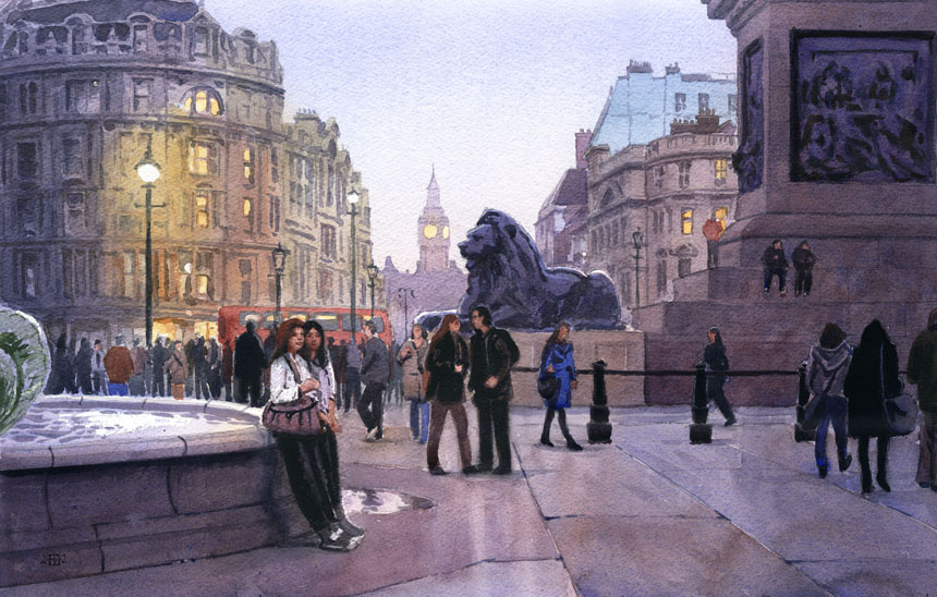 London, tourists, nelson, lions, Trafalgar, water colour, painting, Rob Adams