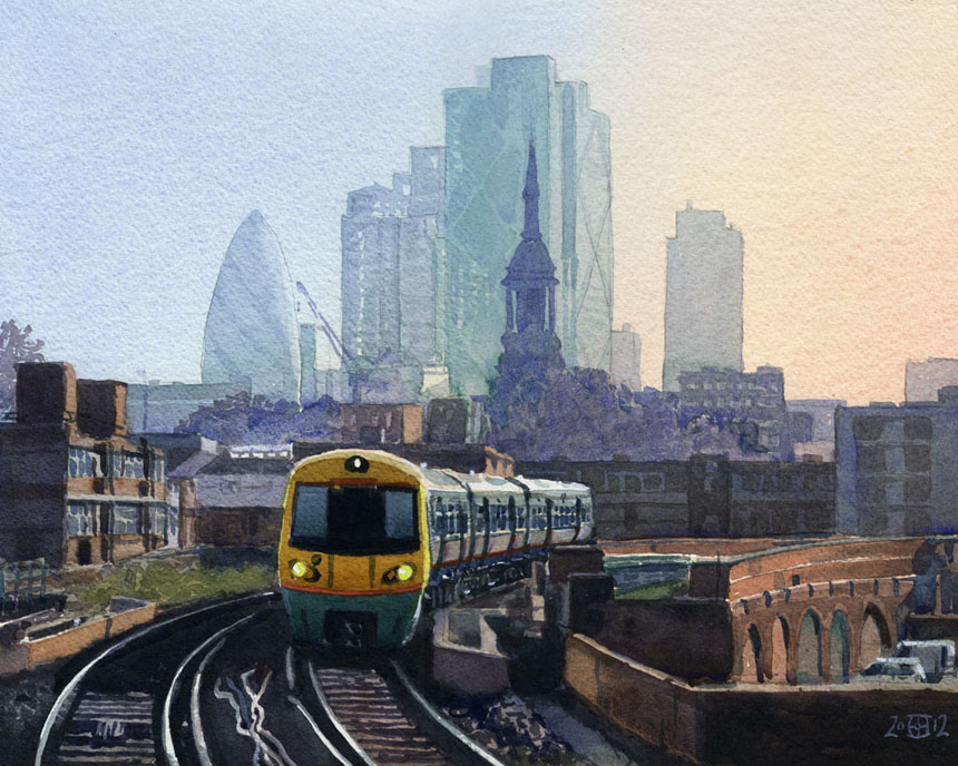 London, railway, train, St Leonard's, Shoreditch, Hoxton, Station, watercolour, Rob Adams