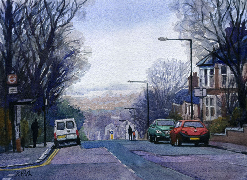 telegraph hill, london, watercolour, painting, street, rob adams