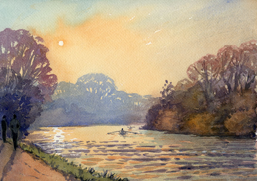 Thames, river, watercolour, plein air, Rob adams