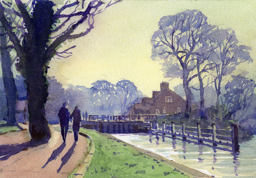 Sonning, Lock, thames, river, watercolour, plein air, Rob Adams